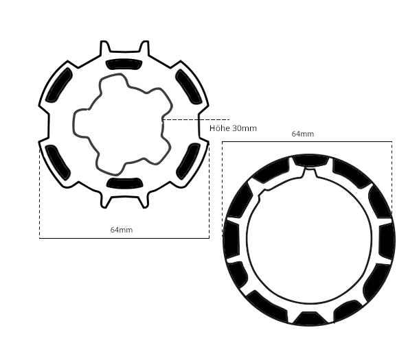 Maße Adapter 65mm