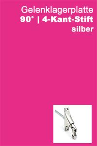 Gelenklagerplatte 90 Grad 4-Kant-Stift silber