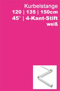 Gelenklagerplatte 45 Grad 4-Kant-Stift weiß