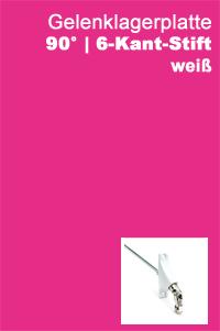 Gelenklagerplatte 90 Grad 6-Kant-Stift weiß