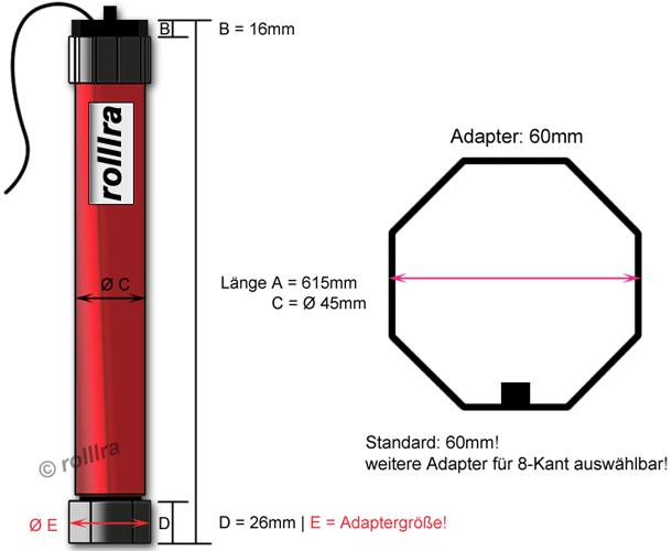 Rohrmotor MAXI 60mm 20NM FUNK