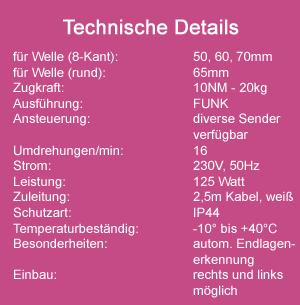 Rohrmotor MAXI 60mm 10NM FUNK