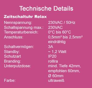 Zeitschaltuhr MAX technische Daten