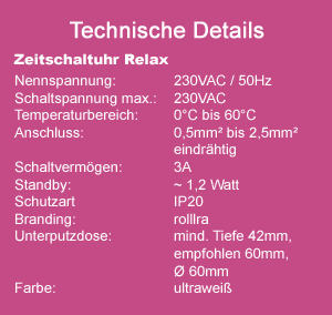 Zeitschaltuhr RELAX technische Daten