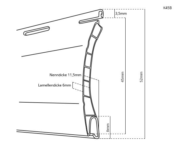 Rollladenpanzer PVC K45B